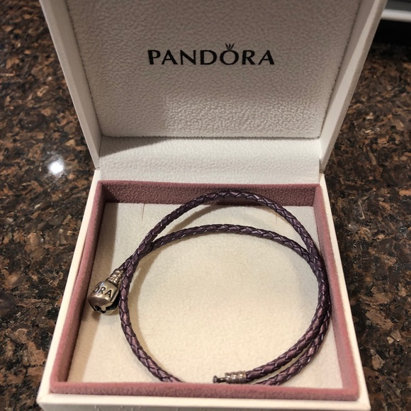 Pandora purple double-braided charm bracelet
